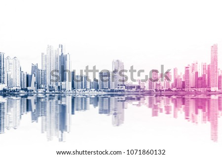 modern skyline abstract style skyscraper buildings on white background #1071860132