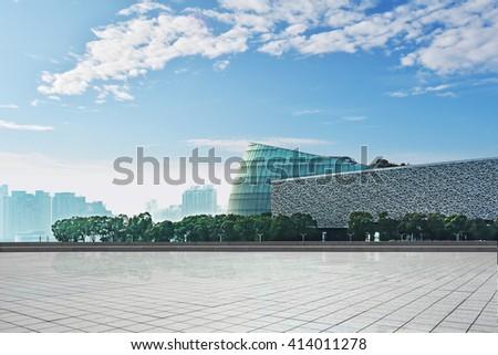 modern skyline and empty road
