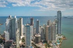modern skyline of downtown Panama City - skyscraper building  aerial