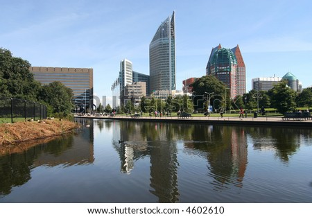 Modern skyline of The Hague, Holland