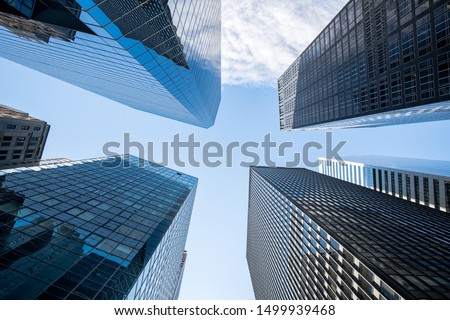 Modern skyscraper buildings in the financial district of Manhattan, New York City, USA #1499939468