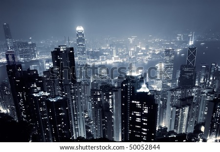 Modern Skyscraper in night in Hong Kong, Asia.