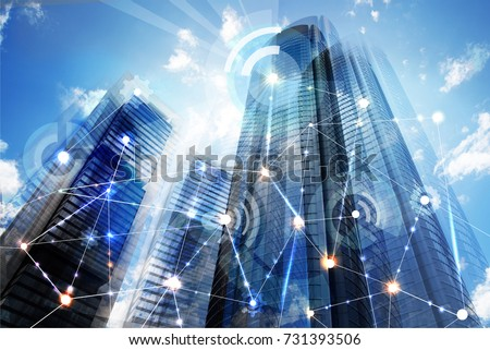 Modern skyscrapers of Madrid and business network connections concept. Technology, transformation and innovation idea.