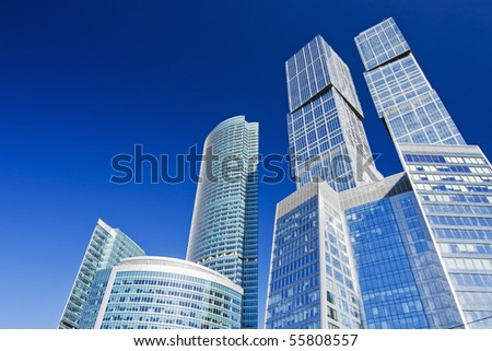 modern skyscrapers on a background of blue sky