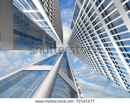 Modern skyscrapers on cloudscape background