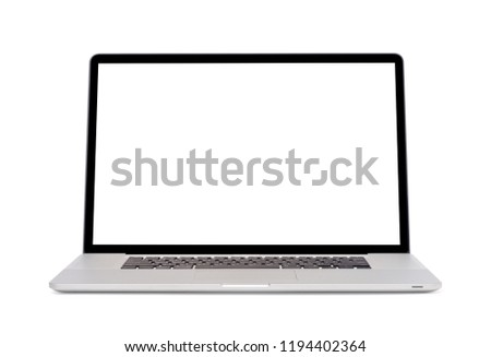 Modern slim design laptop with blank screen, Aluminum material, isolated on white background with clipping path #1194402364
