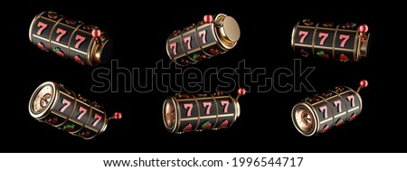 Modern Slot Machine, Reel. Golden, Black And Red, Rotation, Isolated On The Black Background - 3D Illustration