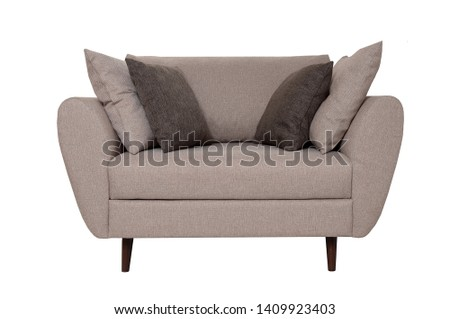 Modern small grey fabric sofa with pillows isolated on white background. Front view. Strict style furniture #1409923403