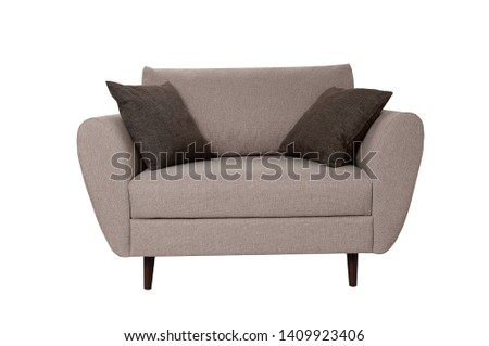 Modern small grey fabric sofa with pillows isolated on white background. Front view. Strict style furniture #1409923406