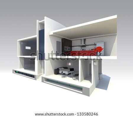 modern smart house design with open structure to see through. support by home battery system,energy saving appliances ,