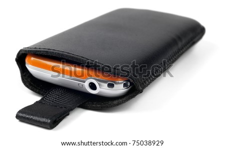 Modern smart phone in leather case