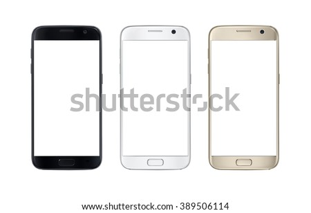 Modern smart phone in three color. White screen for mockup, isolated. #389506114