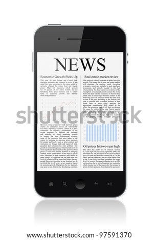 Modern smart phone with business news article isolated on white.