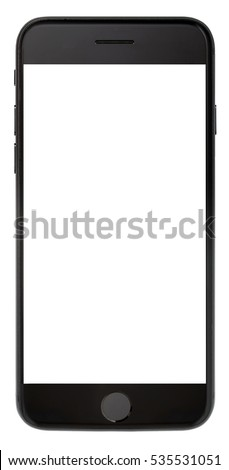 Modern smartphone black color with black screen isolated on white background