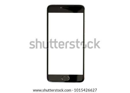 Shutterstock Modern smartphone black color with blank screen isolated on white background