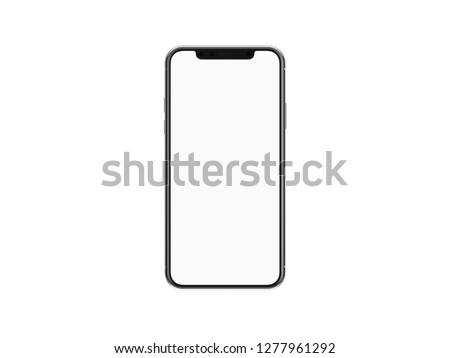 Modern smartphone mockup isolated on white background. 3D illustration. #1277961292