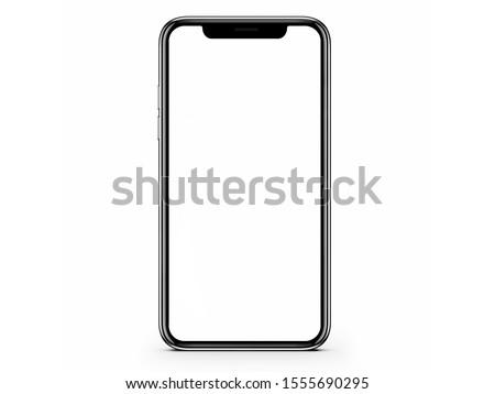Modern smartphone mockup isolated on white background. 3D illustration.