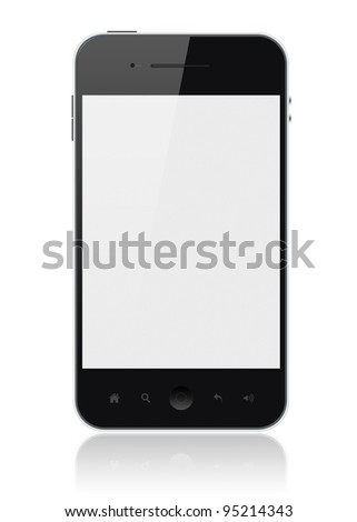 Modern smartphone with blank screen isolated on white. Include clipping path for phone and screen.