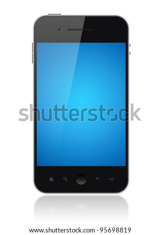 Modern smartphone with blue screen isolated on white. Include clipping path for phone and screen.