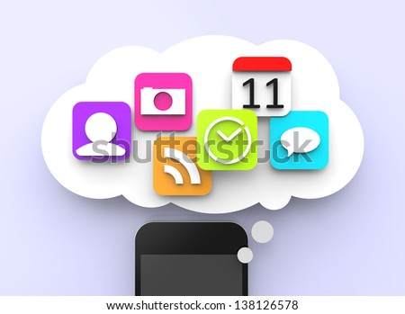 Modern smartphone with colorful apps in a thinking bubble.