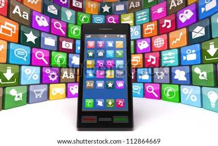 Modern smartphone with icons, isolated on white background. Note to reviewer: Smartphone and icon graphics are designed by the contributor.