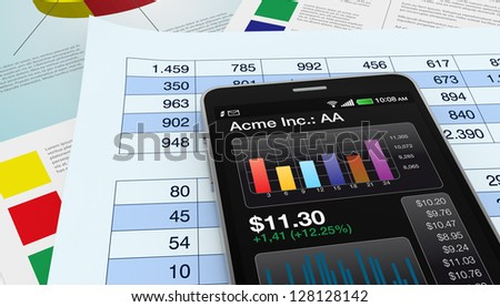 modern smartphone with stock market app, and financial paper documents (3d render)