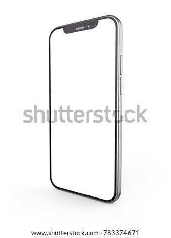Modern smartphone with wgite blank screen isolated on white background. 3D rendering. #783374671