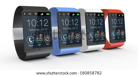 modern smartwatches with watch strap in different colors (3d render)
