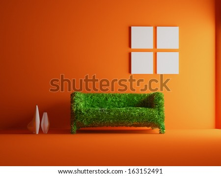 Modern sofa covered with bright green grass Healthy lifestyle concept 3D rendered