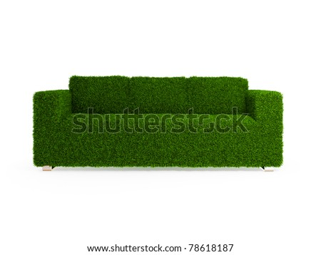 Modern sofa covered with bright green grass. Healthy lifestyle concept. 3d rendered. Isolated on white.