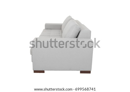 Modern Sofa grey fabric isolated on white background