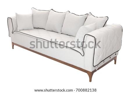 Modern Sofa grey fabric isolated on white background #700882138
