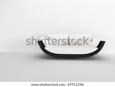 Modern sofa in in a bright empty living room - rendering. minimalism interior.