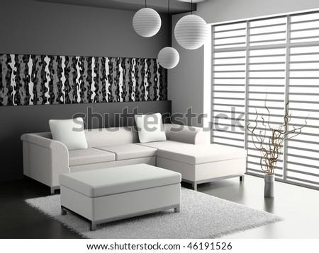 modern sofa  in the  room