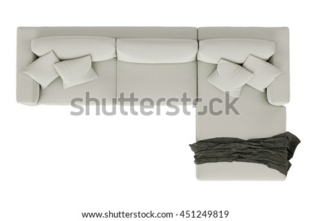 Modern sofa white fabric with draped fabric isolated on white background , top view #451249819