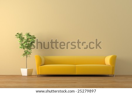 Modern sofa with bonsai tree  render