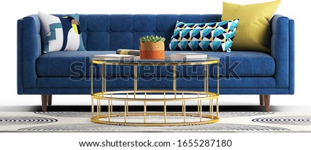 Modern sofa with pillows. Glass metal table with plant and magazines and book