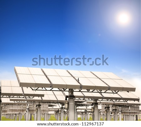 modern solar panel with sun tracking system
