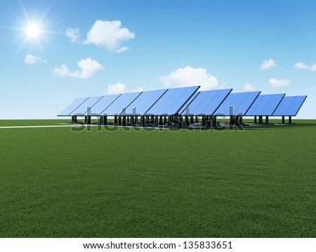 Modern Solar Panels Farm on beautiful green grass with sun and clouds. Alternative Energy Concept