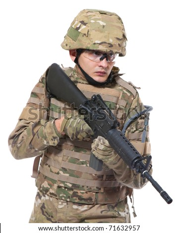 Modern soldier with rifle isolated on a white background