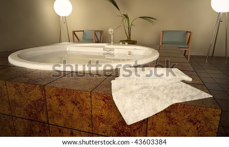 Modern Spa Interior. Jacuzzi Stock Photo 43603384 : Shutterstock
