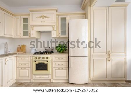 Modern spacioius beige colored luxury kitchen, clean design