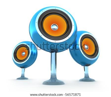 Modern speakers isolated on white. 3D render.