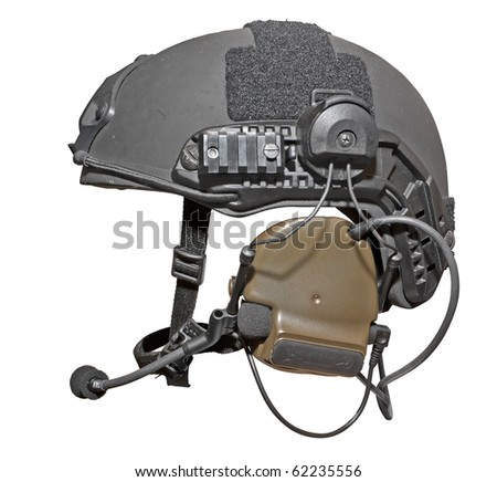 Modern special troops helmet with headphones and microphone isolated on white. Clipping path included.