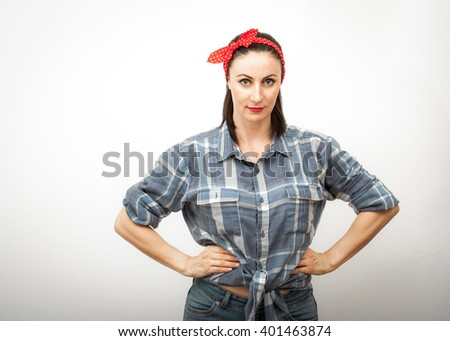 Modern spin on Rosie the Riveter, a cultural icon representing the American women who worked in factories during World War II, she is commonly used as a symbol of feminism and women's economic power