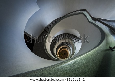 Modern spiral staircase in Warsaw, Poland, Central Europe - stock photo