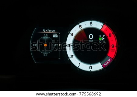 Modern sports car dashbord gauges with g-force meter. Tachometer and speedometer while accelerating. #775568692