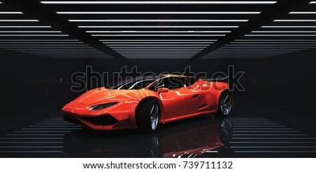 Modern sportscar in abstract illuminated interior. Transportration concept. 3D Rendering