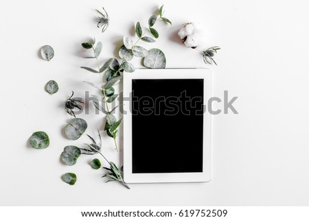 Modern spring design with plants on white background top view mock-up #619752509