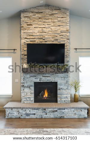 Modern Stacked Stone Fireplace #614317103